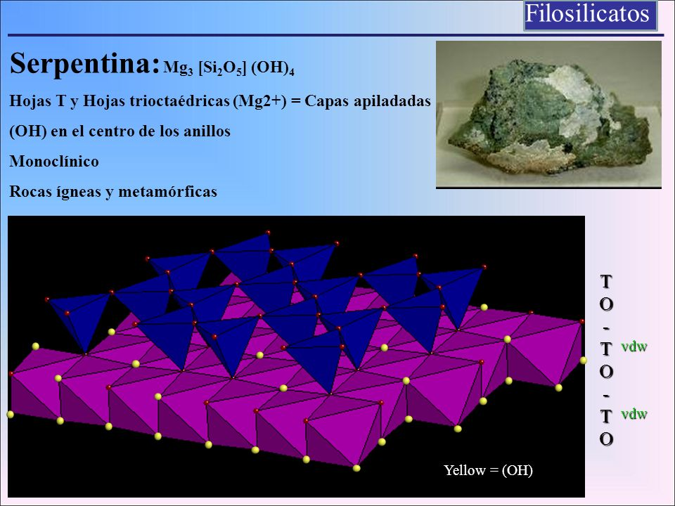 Serpentina: Mg3 [Si2O5] (OH)4